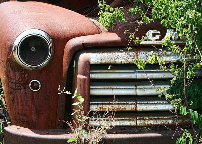 Gmc Greeting Card featuring the photograph Gmc Grill Work by Kathy Clark