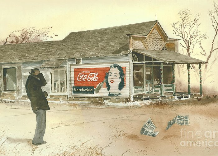 Landscape Showing A Man Hanging Onto His Hat As He Braces Against A Gust Of Wind Near A Small Town Grocery Store. The Coca Cola Sign Painted On The Side Of The Store Beckons Him To go Refreshed. Greeting Card featuring the painting Go Refreshed by Monte Toon