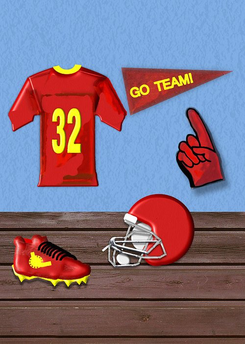 Football Greeting Card featuring the painting Go Team Tribute To Football by Pharris Art