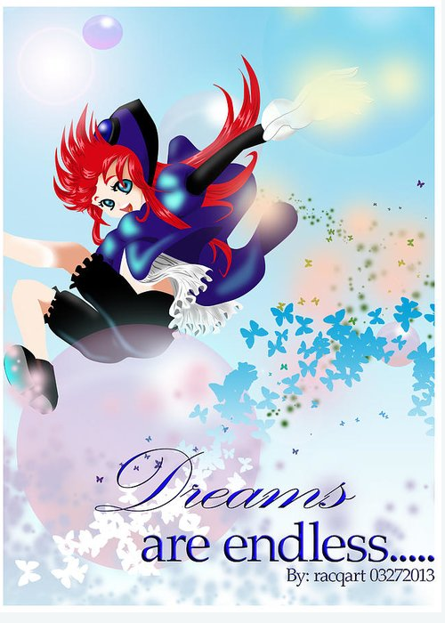Anime Girl Greeting Card featuring the digital art Go Up To Your Dream by Racquel Delos Santos