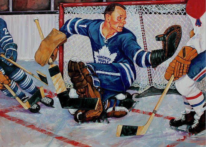 Hockey Greeting Card featuring the painting Goaltender by Derrick Higgins