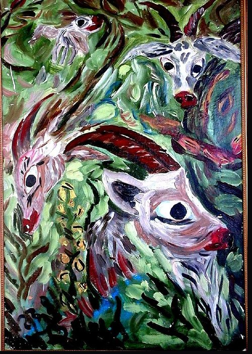 Goats Print Greeting Card featuring the painting Goats by Vladimir A Shvartsman