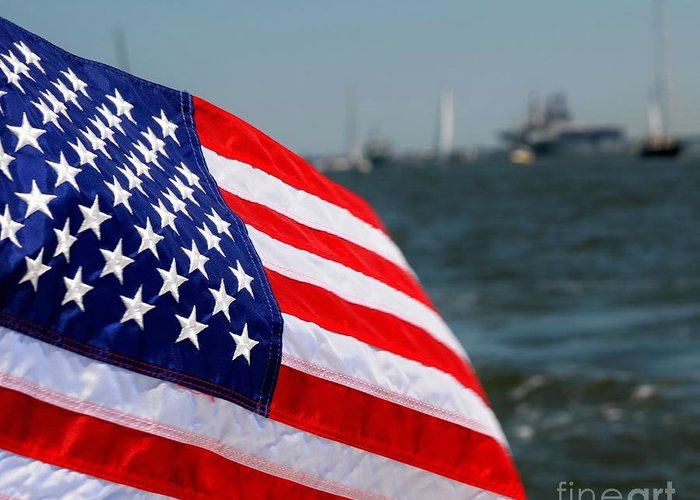 Us Flag Greeting Card featuring the photograph God Bless The Usa by Brenda Dorman