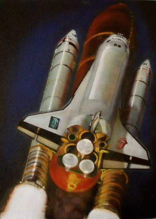 Space Shuttle;launch;liftoff;blastoff;rockets;engines;astronauts;spaceart;nasa;photorealism Greeting Card featuring the painting God Plays Dice by Sean Connolly