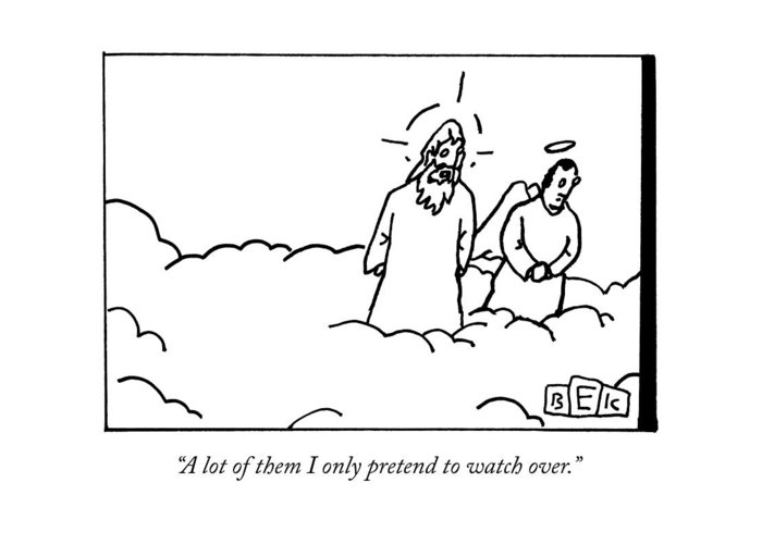 Religion Greeting Card featuring the drawing God Talks To An Angel by Bruce Eric Kaplan