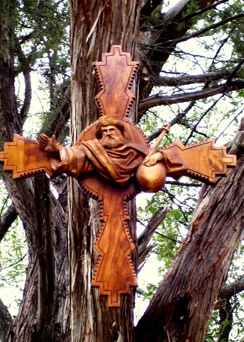 Cross Greeting Card featuring the sculpture God The Father Cross by Michael Pasko