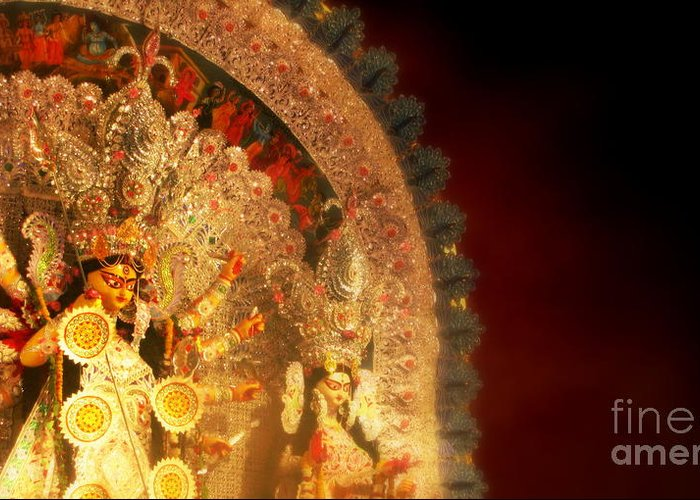 Goddess Greeting Card featuring the photograph Goddess Durga by Prajakta P