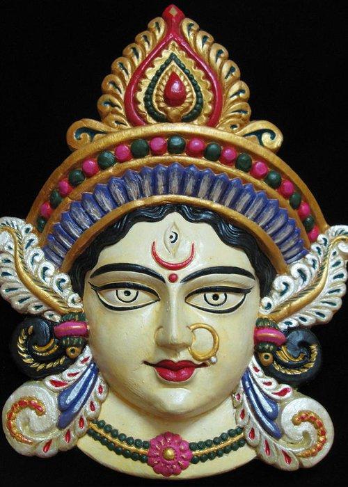 Goddess Greeting Card featuring the painting Goddess Durga by Sayali Mahajan