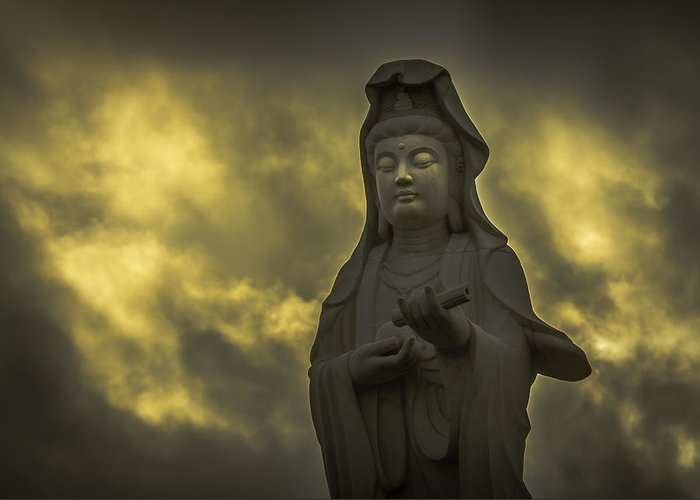 Guanyin Greeting Card featuring the photograph Goddess Of Mercy by Michael Geier