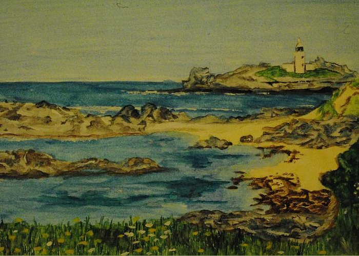 Godrevy Greeting Card featuring the painting Godrevy by Graham Wood