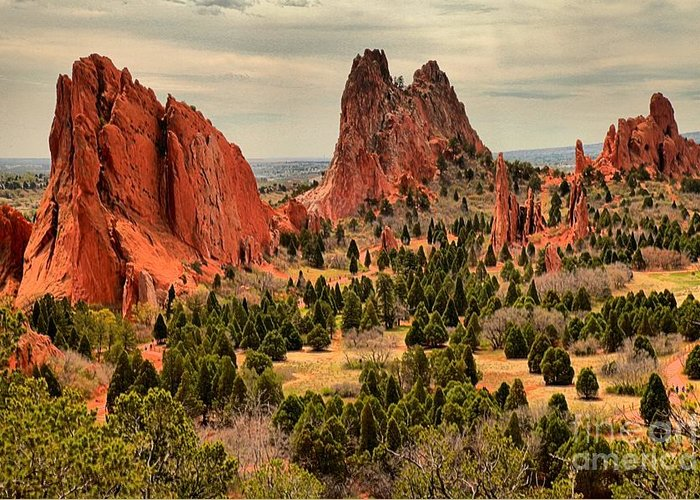 Garden Of The Gods Greeting Card featuring the photograph Gods Garden In Colorado by Adam Jewell