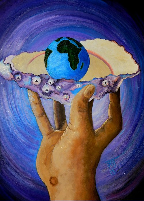 Earth Greeting Card featuring the painting God's Little Blue Pearl Of Great Price by Pamorama Jones
