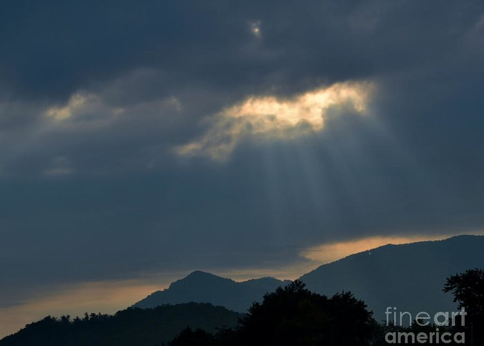 Sky Greeting Card featuring the photograph Gods Morning Rays by Eva Thomas
