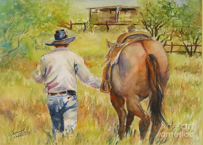 Cowboy Greeting Card featuring the painting Going Home by Summer Celeste