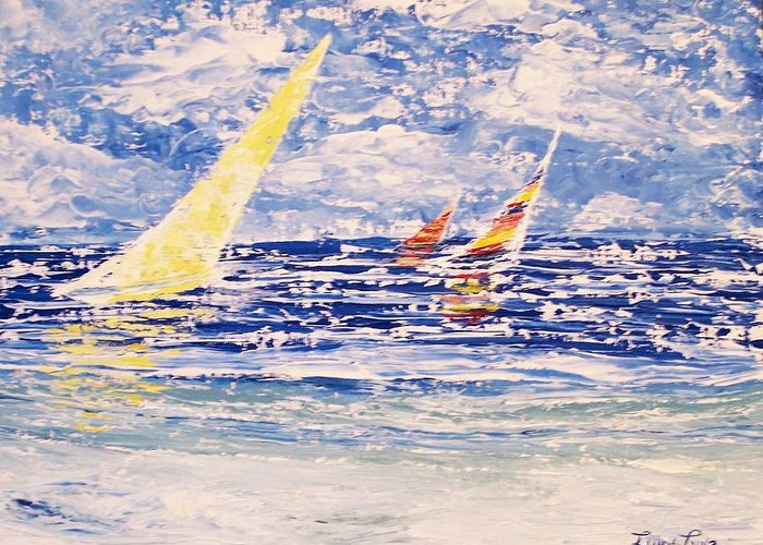 Sailboats Greeting Card featuring the painting Going Nowhere Fast by Lynn Luna