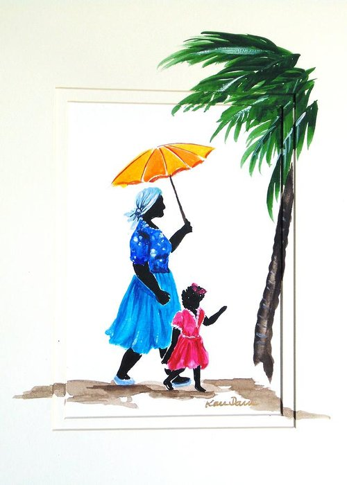 Caribbean Greeting Card featuring the painting Going To School 2 by Karin Dawn Kelshall- Best