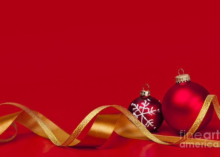Christmas Greeting Card featuring the photograph Gold And Red Christmas Decorations by Elena Elisseeva