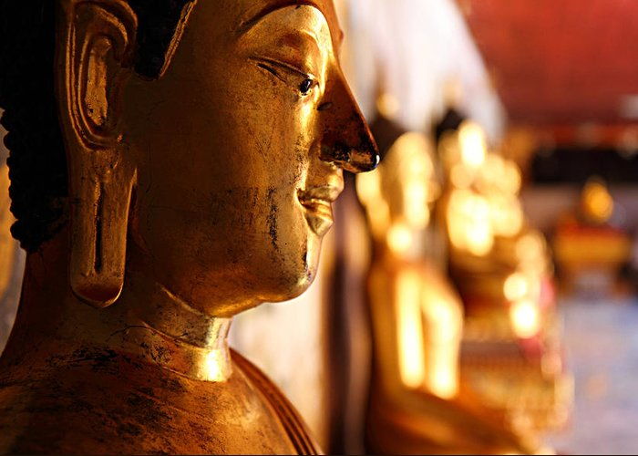 Metro Greeting Card featuring the photograph Gold Buddha At Wat Phrathat Doi Suthep by Metro DC Photography