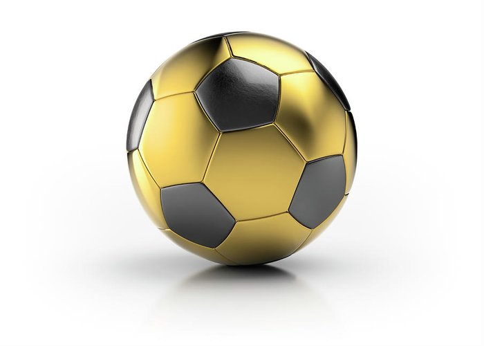 White Background Greeting Card featuring the photograph Gold Football by Atomic Imagery
