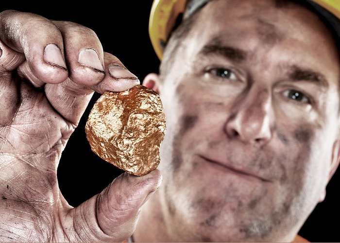 Gold Greeting Card featuring the photograph Gold Miner With Nugget by Joe Belanger