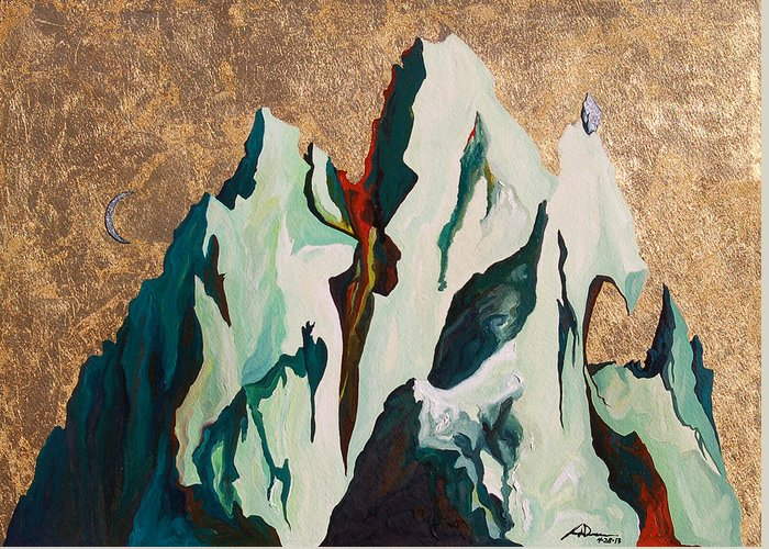 Mountains Greeting Card featuring the painting Gold Mountain by Joseph Demaree