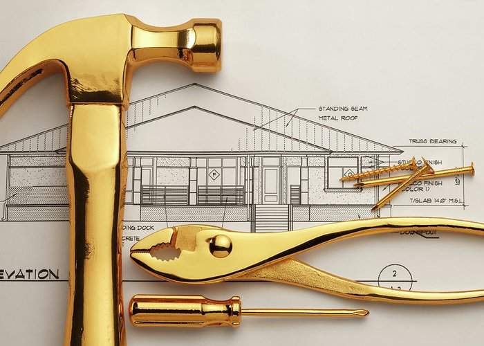 Plan Greeting Card featuring the photograph Gold Plated Tools And Blueprints by Dny59