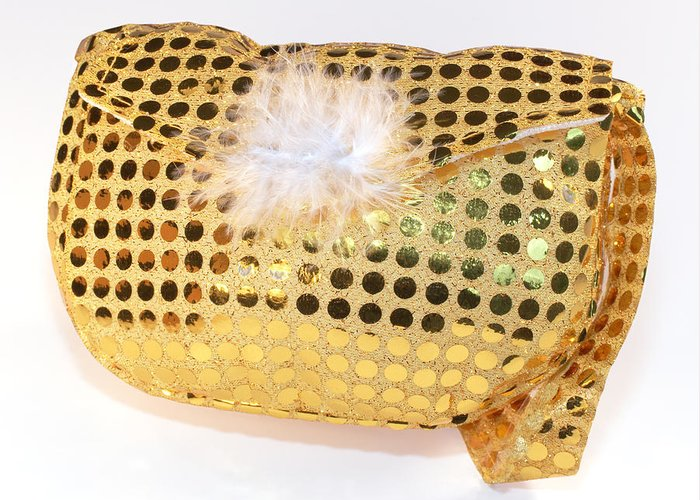 Dress Greeting Card featuring the photograph Gold Sequin Purse by Jo Ann Snover
