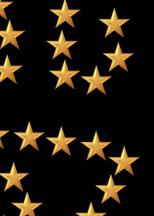 Star Greeting Card featuring the digital art Gold Stars Abstract Triptych Part 3 by Rose Santuci-Sofranko