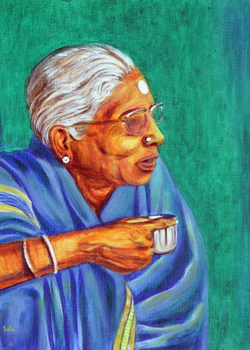 Usha Greeting Card featuring the painting Golden Age 2 by Usha Shantharam