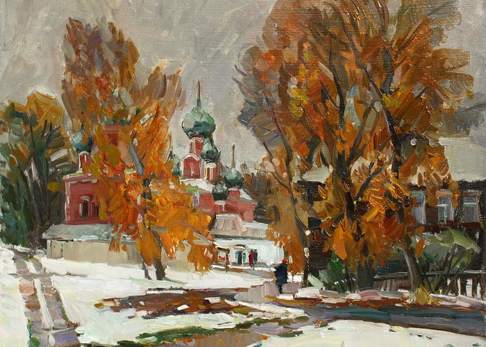 Pereslavl Greeting Card featuring the painting Golden Autumn Under Snow by Juliya Zhukova