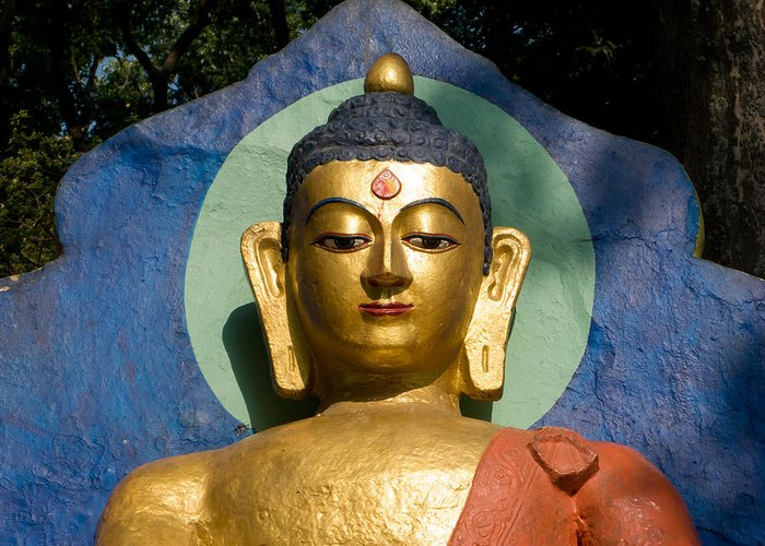Buddha Greeting Card featuring the photograph Golden Buddha by Nila Newsom