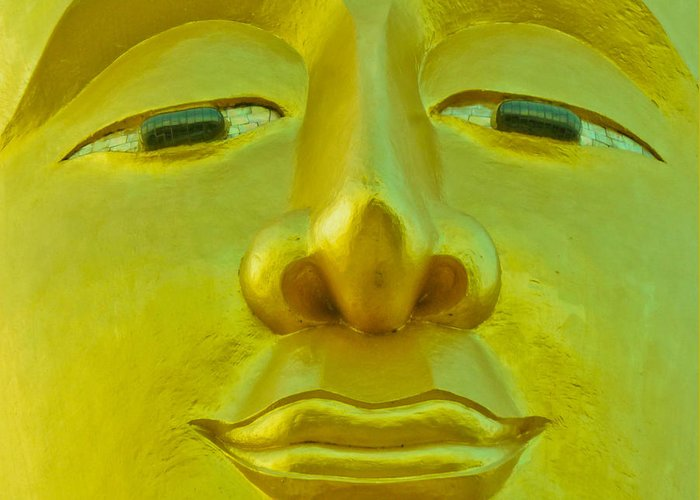 Buddha Greeting Card featuring the photograph Golden Buddha Smile by Allan Rufus