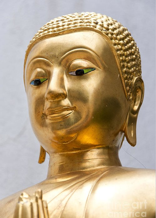 Buddhism Greeting Card featuring the photograph Golden Buddha Statue by Antony McAulay