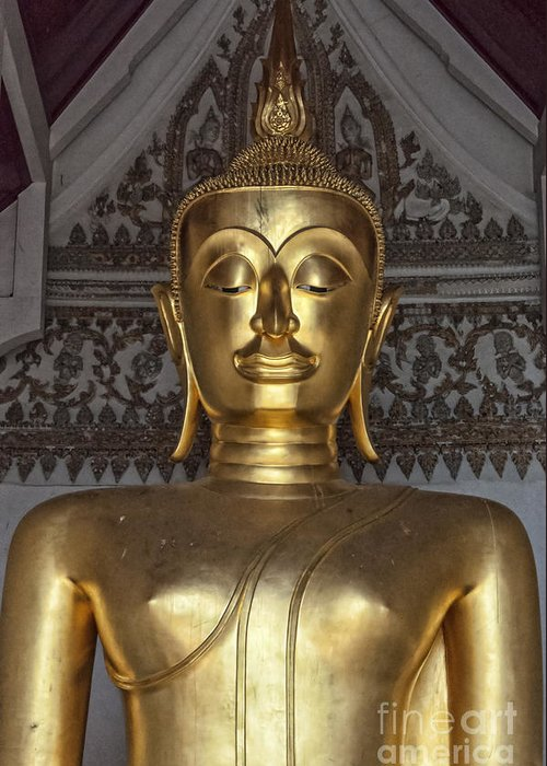 Buddhism Greeting Card featuring the photograph Golden Buddha Temple Statue by Antony McAulay