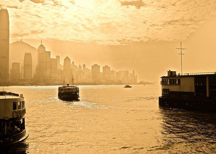 Hong Kong Greeting Card featuring the photograph Golden Day by Richard WAN