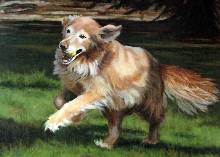 Dog Greeting Card featuring the painting Golden Days by Sandra Chase