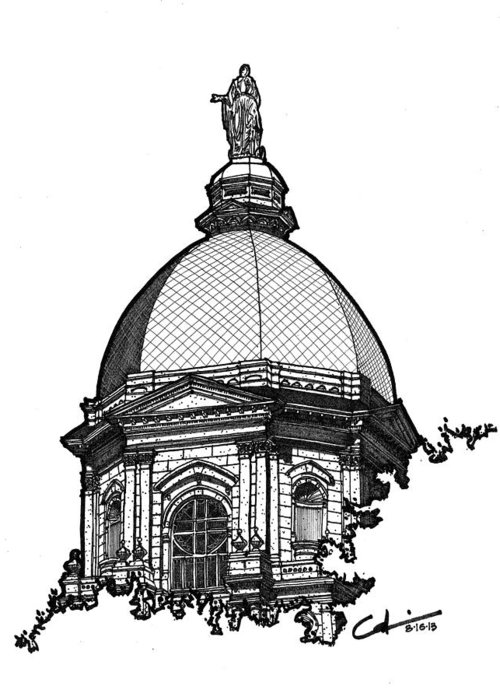 Sketch Greeting Card featuring the drawing Golden Dome by Calvin Durham