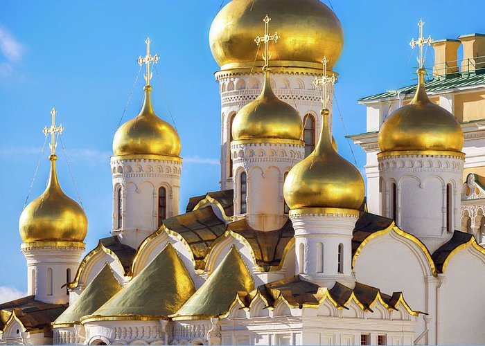 Annunciation Greeting Card featuring the photograph Golden Domes Of The Russian Church by Mordolff