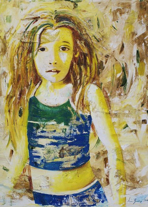 Portrait Greeting Card featuring the painting Golden Dreams by Elsa Zarduz