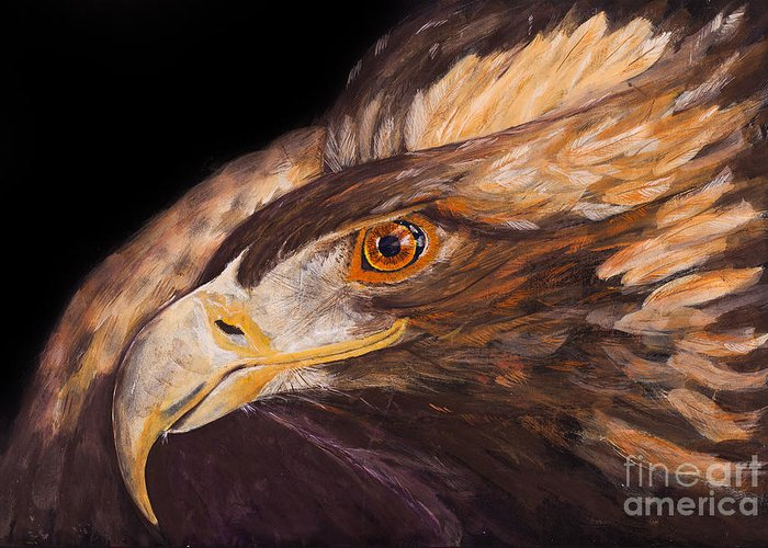 Eagle Greeting Card featuring the painting Golden Eagle Close Up Painting By Carolyn Bennett by Simon Bratt Photography LRPS