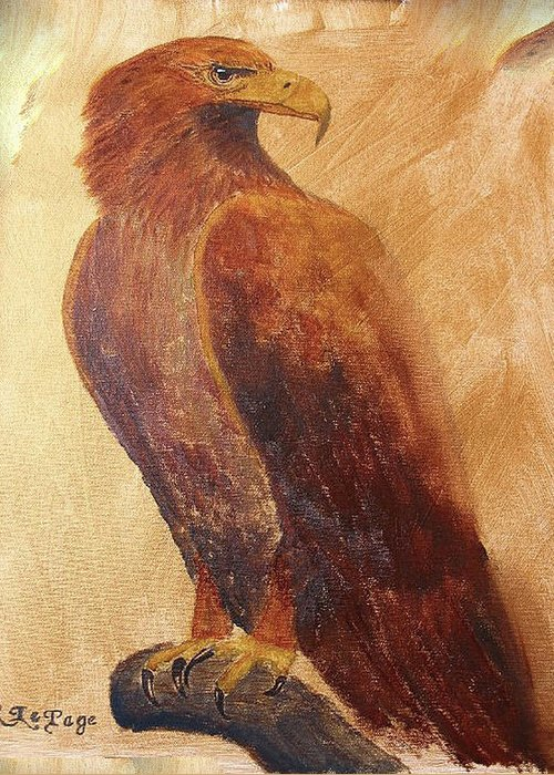 Golden Eagle Greeting Card featuring the painting Golden Eagle by Richard Le Page