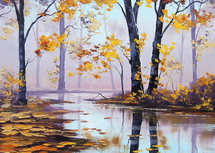 Fall Greeting Card featuring the painting Golden Fall by Graham Gercken