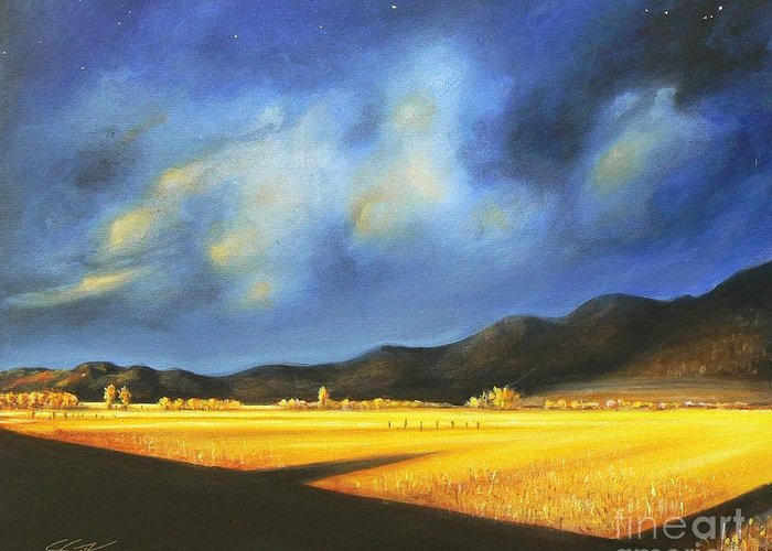 American Greeting Card featuring the painting Golden Fields by - Artificium -