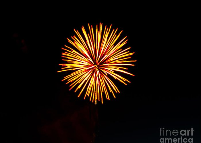 Fireworks Greeting Card featuring the photograph Golden Fireworks Flower by Robert Bales