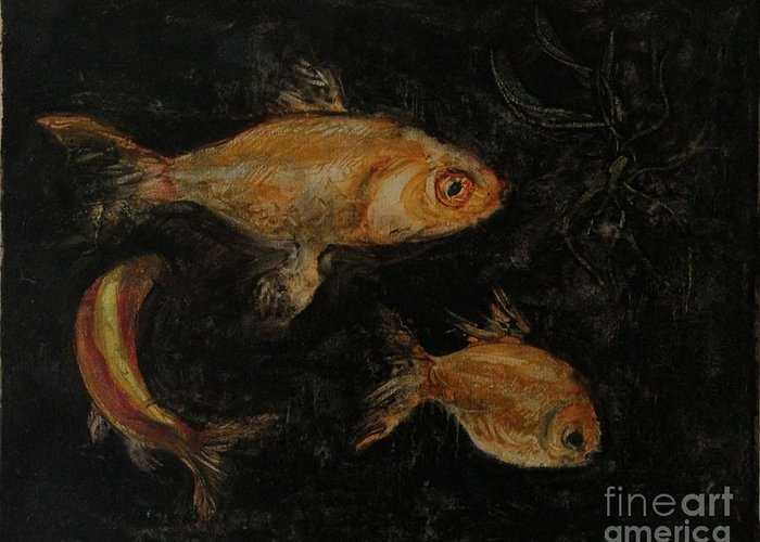 Fish Greeting Card featuring the painting Golden Fishes by Pal Mezei