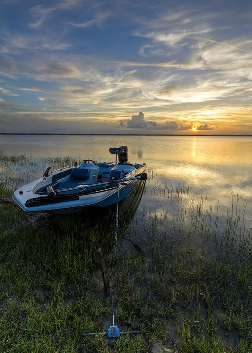 Boats Greeting Card featuring the photograph Golden Fishing Hour by Debra and Dave Vanderlaan