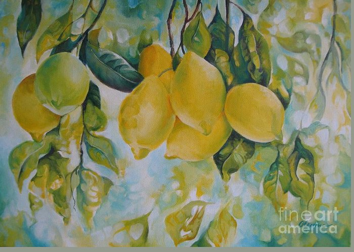 Lemon Greeting Card featuring the painting Golden Fruit by Elena Oleniuc