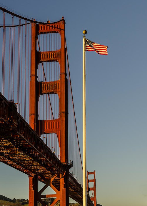 Us Flag Greeting Card featuring the photograph Golden Gate And American Flag by Gej Jones