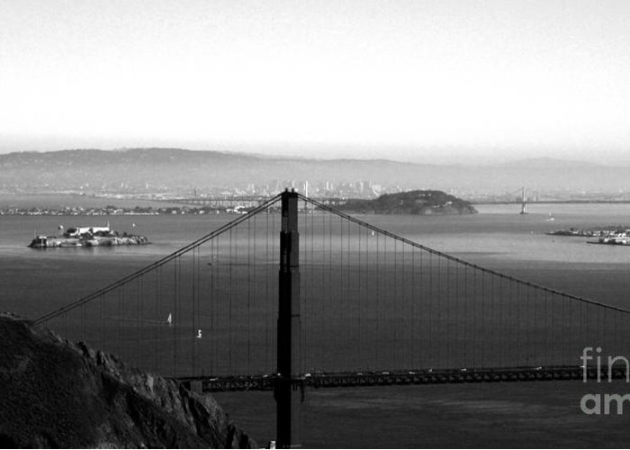Golden Gate Bridge Greeting Card featuring the photograph Golden Gate And Bay Bridges by Linda Woods