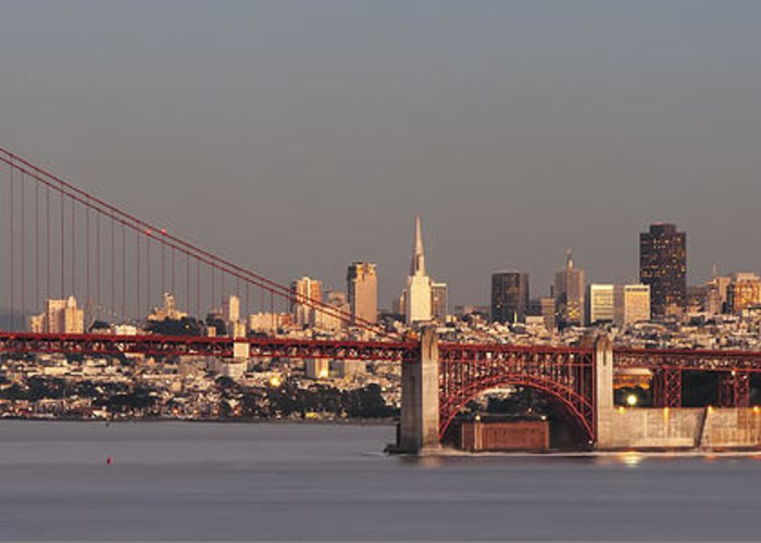 Photography Greeting Card featuring the photograph Golden Gate Bridge And San Francisco Panoramic by Lee Kirchhevel